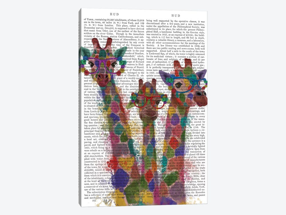 Rainbow Splash Giraffe Trio, Print BG by Fab Funky 1-piece Art Print