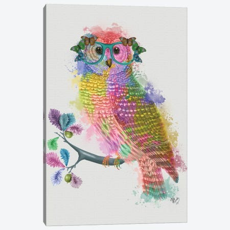 Rainbow Splash Owl Canvas Print #FNK807} by Fab Funky Canvas Print