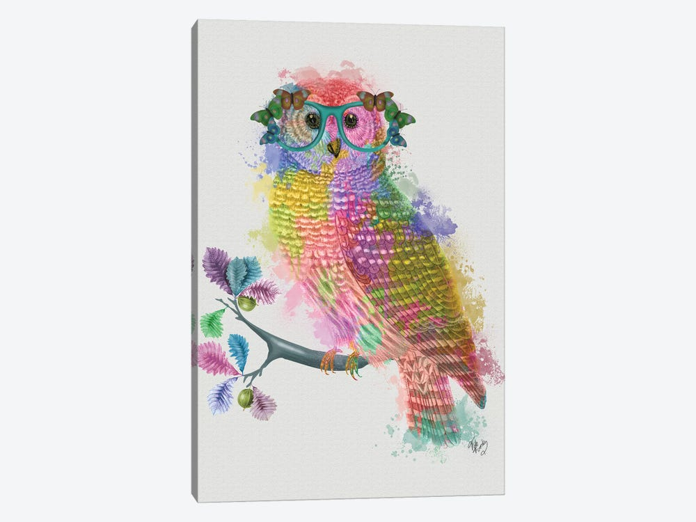 Rainbow Splash Owl by Fab Funky 1-piece Canvas Art