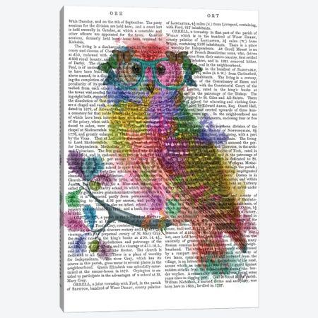 Rainbow Splash Owl, Print BG Canvas Print #FNK808} by Fab Funky Canvas Artwork