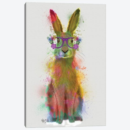 Rainbow Splash Rabbit I Canvas Print #FNK811} by Fab Funky Canvas Print