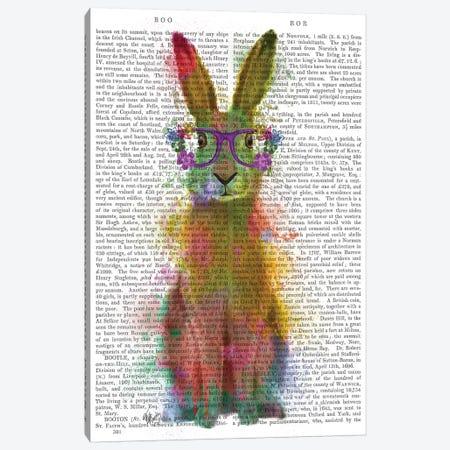 Rainbow Splash Rabbit I, Print BG Canvas Print #FNK812} by Fab Funky Art Print