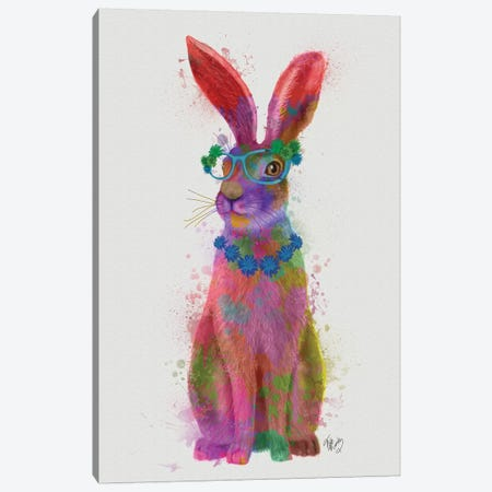 Rainbow Splash Rabbit II, Full Canvas Print #FNK813} by Fab Funky Canvas Art Print