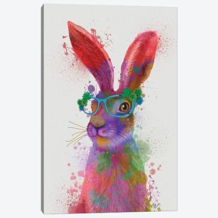 Rainbow Splash Rabbit II, Portrait Canvas Print #FNK815} by Fab Funky Canvas Artwork