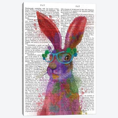 Rainbow Splash Rabbit II, Portrait, Print BG Canvas Print #FNK816} by Fab Funky Canvas Artwork