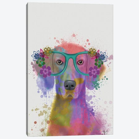 Rainbow Splash Weimaraner, Portrait Canvas Print #FNK819} by Fab Funky Canvas Art Print