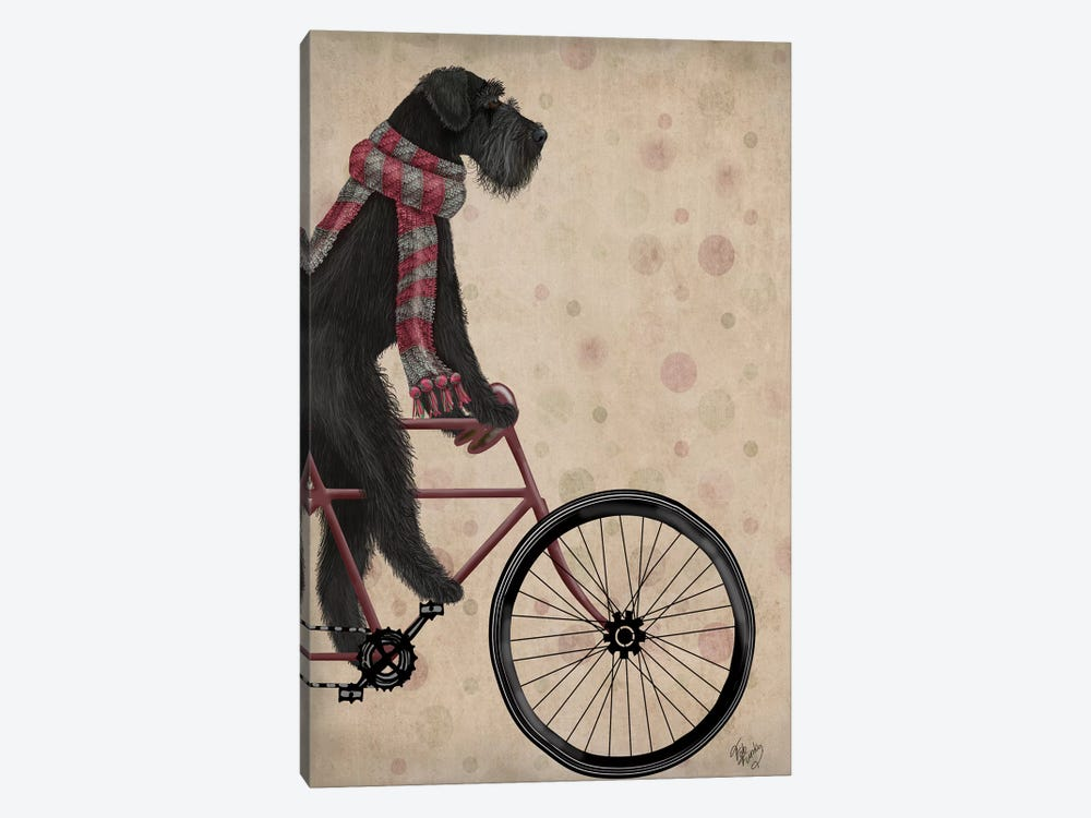 Schnauzer on Bicycle, Black by Fab Funky 1-piece Canvas Wall Art