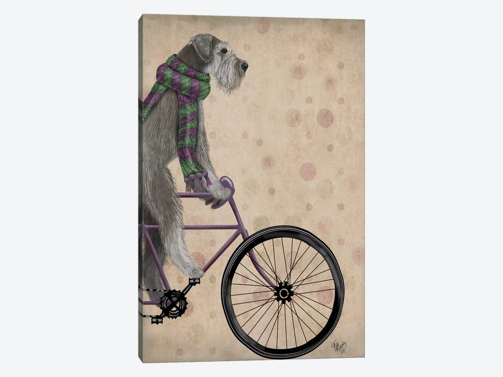 Schnauzer on Bicycle, Grey by Fab Funky 1-piece Canvas Art