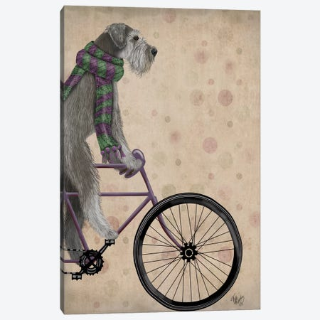 Schnauzer on Bicycle, Grey Canvas Print #FNK825} by Fab Funky Art Print