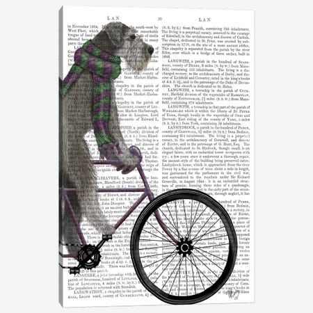 Schnauzer on Bicycle, Grey, Print BG Canvas Print #FNK826} by Fab Funky Canvas Art Print