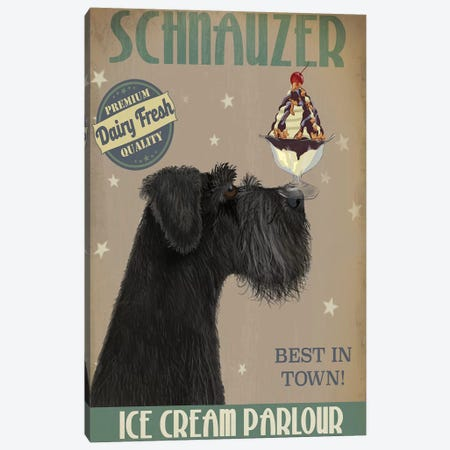 Schnauzer, Black, Ice Cream Canvas Print #FNK829} by Fab Funky Canvas Wall Art