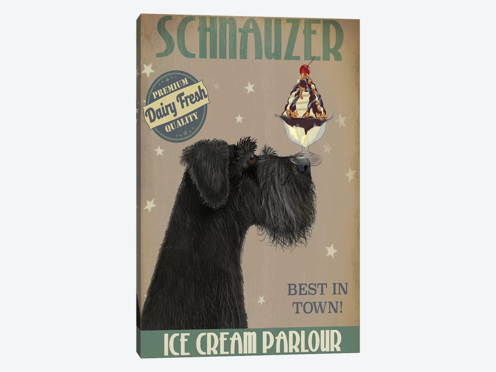Schnauzer, Black, Ice Cream by Fab Funky 1-piece Canvas Artwork
