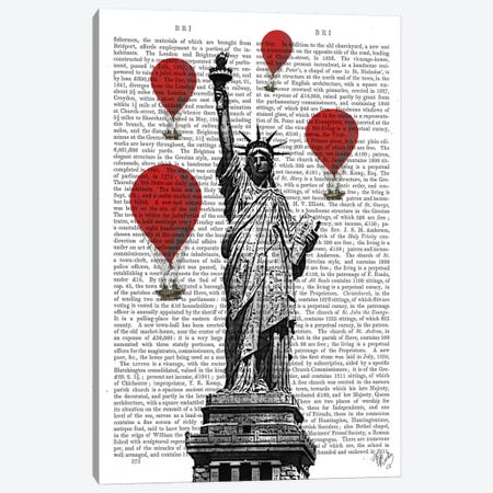 Statue Of Liberty Canvas Print #FNK82} by Fab Funky Art Print