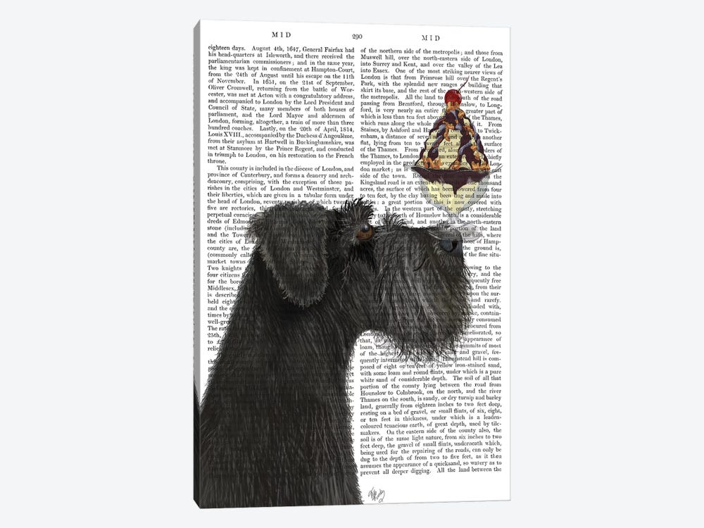 Schnauzer, Black, Ice Cream, Print BG by Fab Funky 1-piece Canvas Wall Art