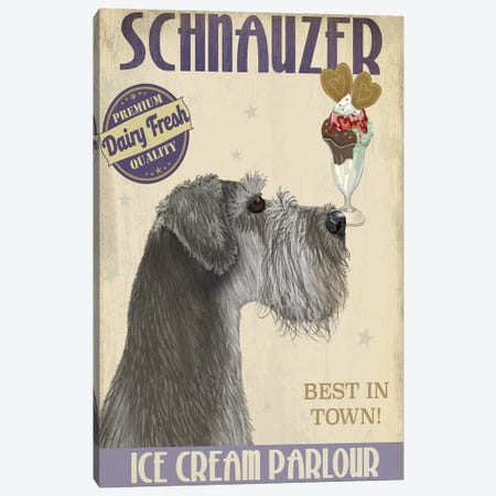 Schnauzer, Grey, Ice Cream Canvas Print #FNK831} by Fab Funky Canvas Art Print