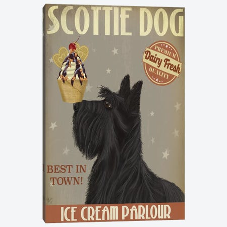 Scottish Terrier Ice Cream Canvas Print #FNK833} by Fab Funky Art Print