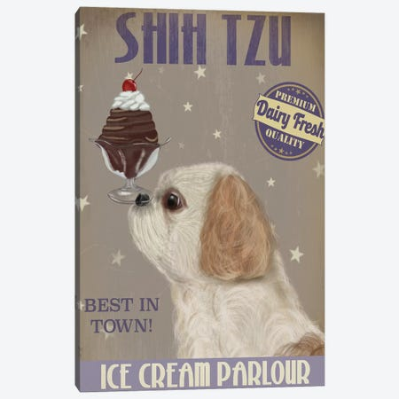 Shih Tzu Ice Cream Canvas Print #FNK835} by Fab Funky Canvas Wall Art