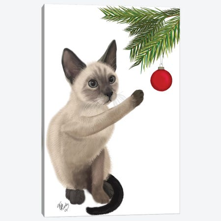 Siamese Cat and Bauble Canvas Print #FNK837} by Fab Funky Canvas Art