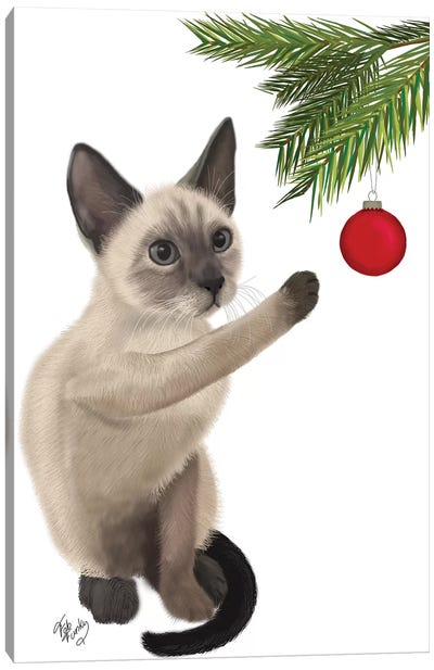 Siamese Cat and Bauble Canvas Art Print