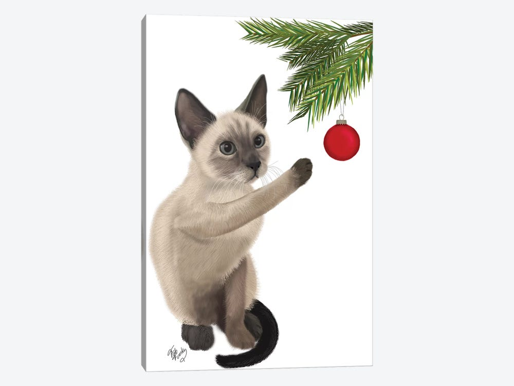 Siamese Cat and Bauble by Fab Funky 1-piece Art Print