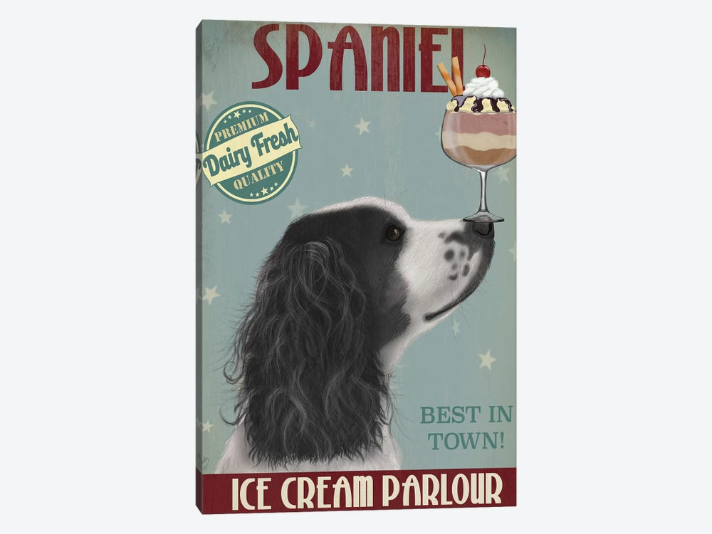 Springer Spaniel, Black and White, Ice Cream 1-piece Canvas Art