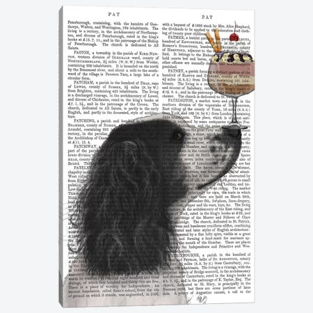 Springer Spaniel, Black and White, Ice Cream, Print BG Canvas Print #FNK842} by Fab Funky Canvas Art