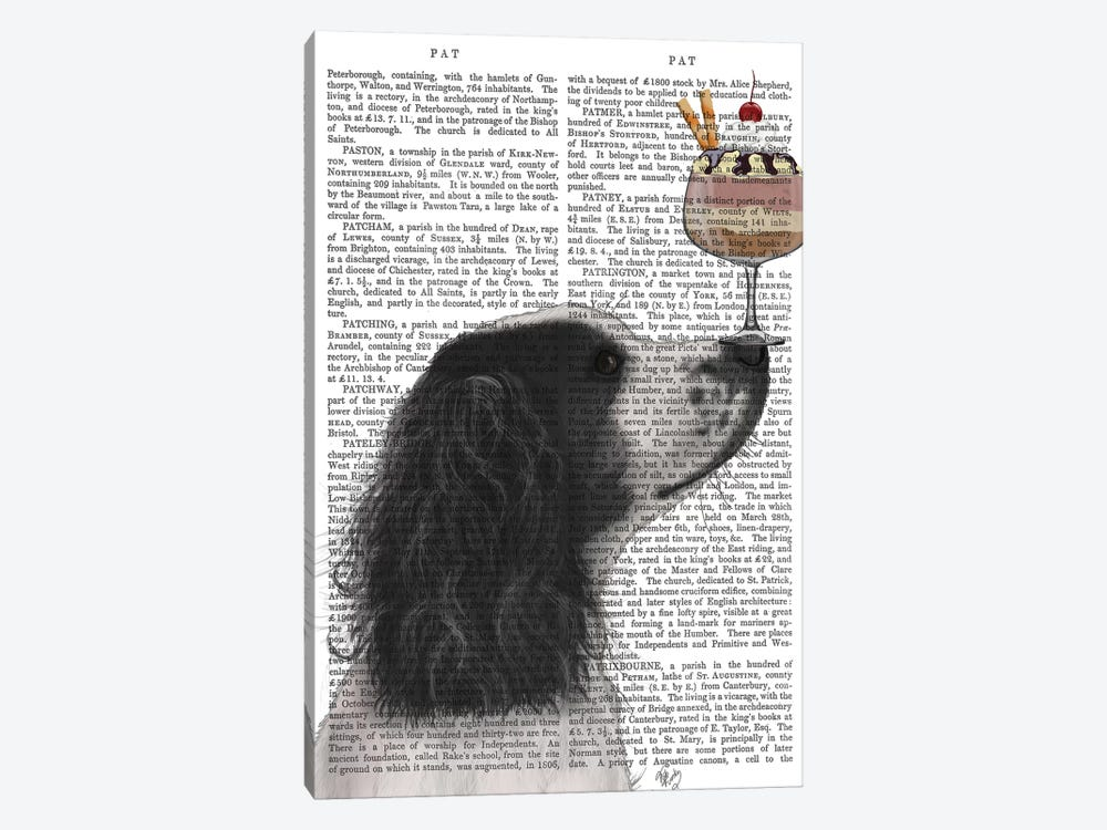 Springer Spaniel, Black and White, Ice Cream, Print BG by Fab Funky 1-piece Canvas Print