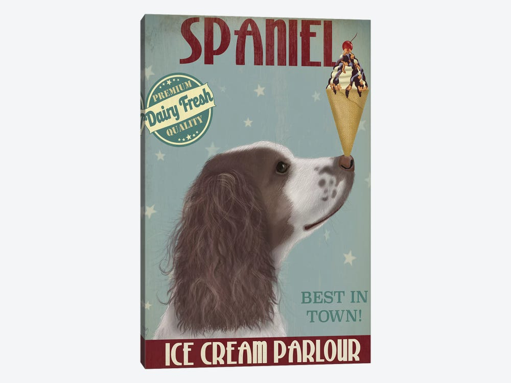 Springer Spaniel, Brown and White, Ice Cream by Fab Funky 1-piece Canvas Art