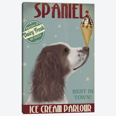 Springer Spaniel, Brown and White, Ice Cream Canvas Print #FNK845} by Fab Funky Canvas Art Print