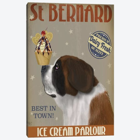 St. Bernard Ice Cream Canvas Print #FNK847} by Fab Funky Canvas Art Print