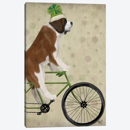 St. Bernard on Bicycle Canvas Print #FNK848} by Fab Funky Canvas Wall Art