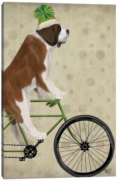St. Bernard on Bicycle Canvas Art Print
