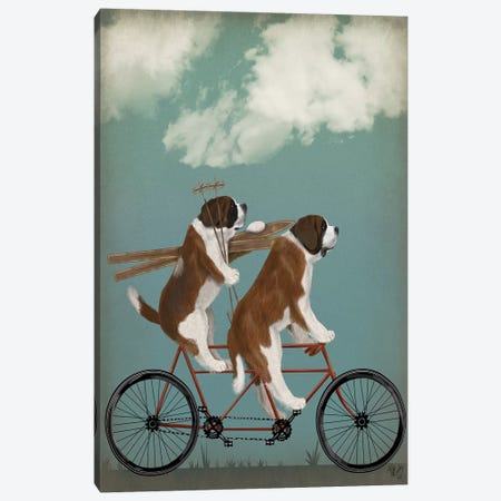 St. Bernard Tandem Canvas Print #FNK849} by Fab Funky Canvas Artwork