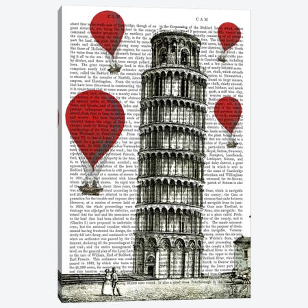 Tower Of Pisa Canvas Print #FNK84} by Fab Funky Canvas Artwork