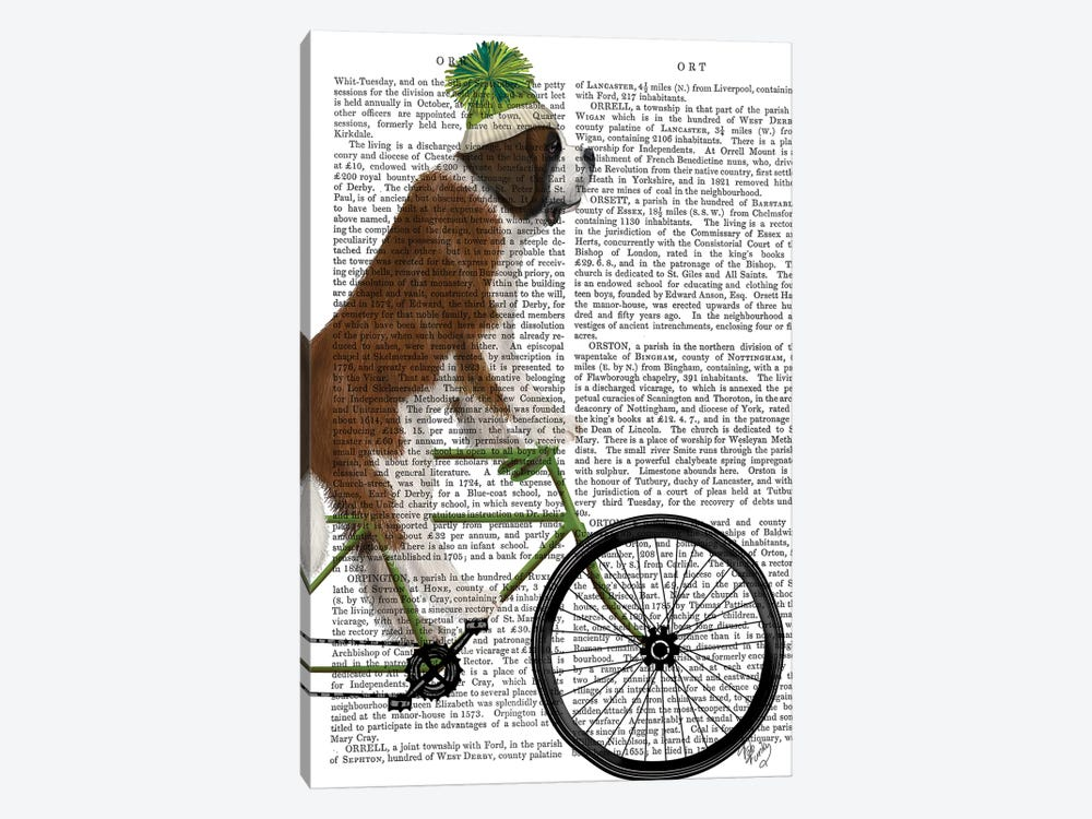 St. Bernard on Bicycle, Print BG by Fab Funky 1-piece Canvas Print