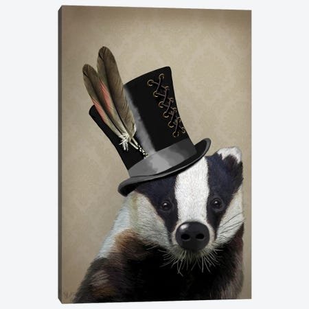 Steampunk Badger in Top Hat Canvas Print #FNK853} by Fab Funky Canvas Print