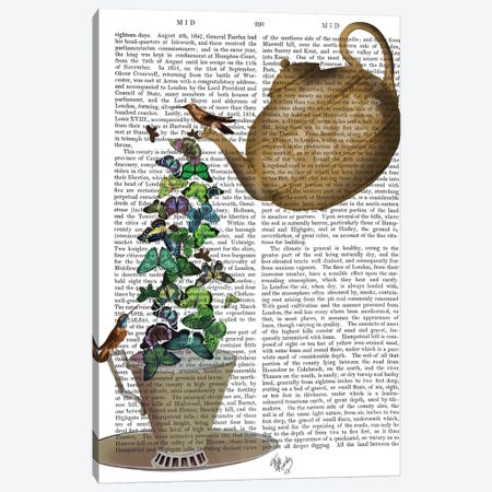 Teapot, Cup and Butterflies Canvas Print #FNK855} by Fab Funky Canvas Artwork
