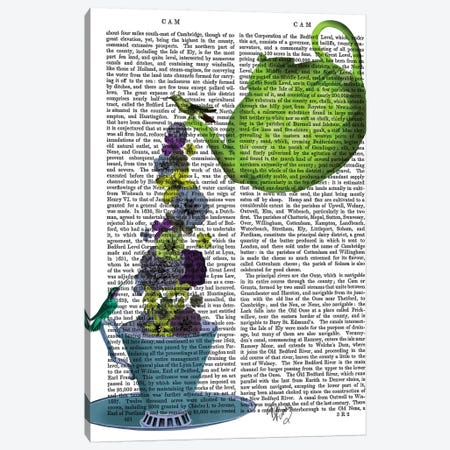 Teapot, Cup and Flowers, Green and Blue Canvas Print #FNK856} by Fab Funky Canvas Art