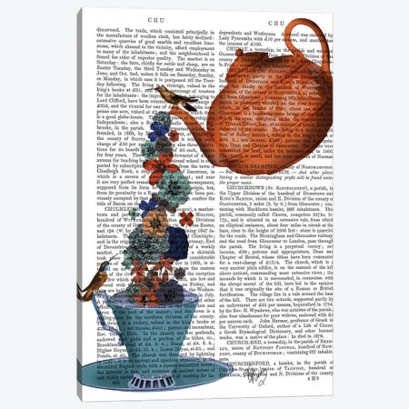Teapot, Cup and Flowers, Orange and Blue Canvas Print #FNK857} by Fab Funky Canvas Wall Art