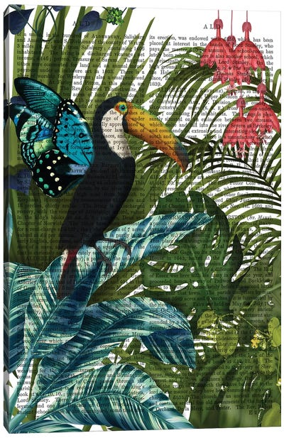 Toucan in Tropical Forest, Print BG Canvas Art Print