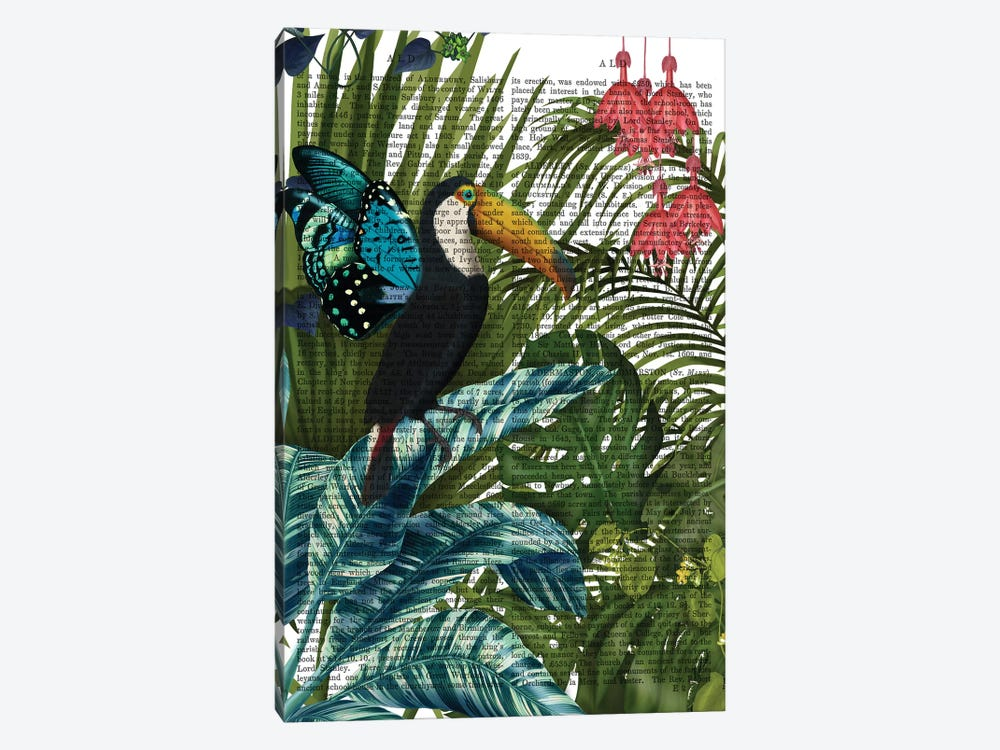 Toucan in Tropical Forest, Print BG by Fab Funky 1-piece Canvas Art Print