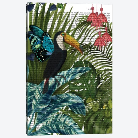 Toucan in Tropical Forest, Print BG Canvas Print #FNK859} by Fab Funky Canvas Art Print