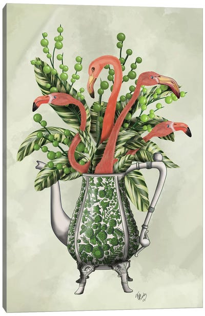 Vase Of Flamingos Canvas Art Print