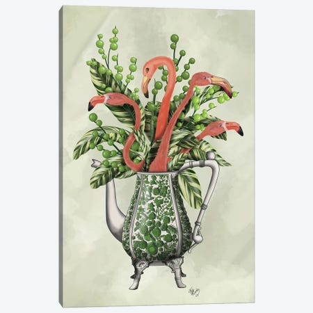 Vase Of Flamingos Canvas Print #FNK860} by Fab Funky Canvas Wall Art