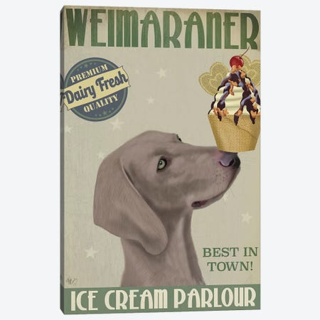 Weimaraner Ice Cream Canvas Print #FNK863} by Fab Funky Canvas Art