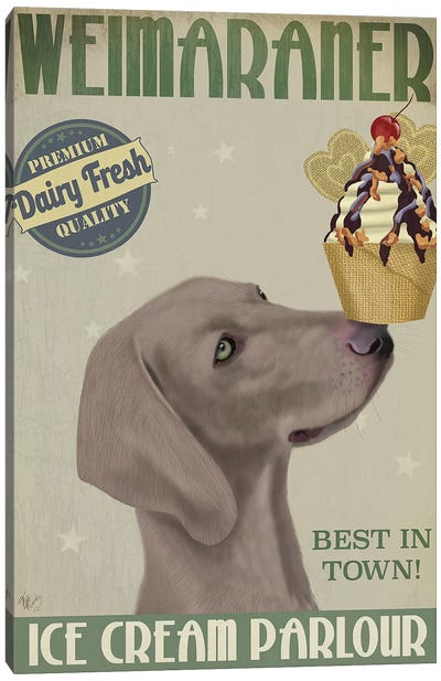 Weimaraner Ice Cream Canvas Art Print