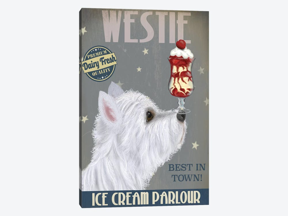 Westie Ice Cream by Fab Funky 1-piece Canvas Artwork
