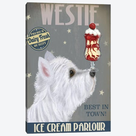 Westie Ice Cream Canvas Print #FNK865} by Fab Funky Canvas Print