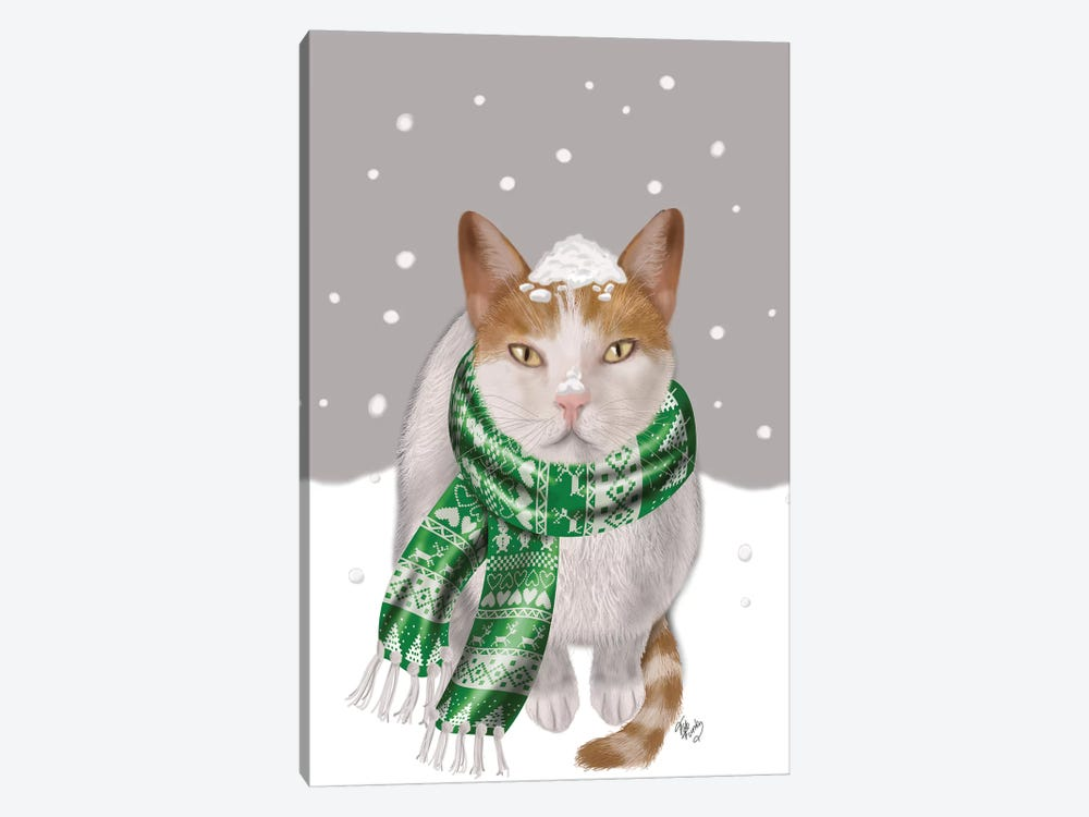 White Cat, Green Scarf by Fab Funky 1-piece Canvas Artwork