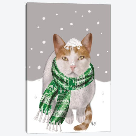 White Cat, Green Scarf Canvas Print #FNK867} by Fab Funky Canvas Art Print